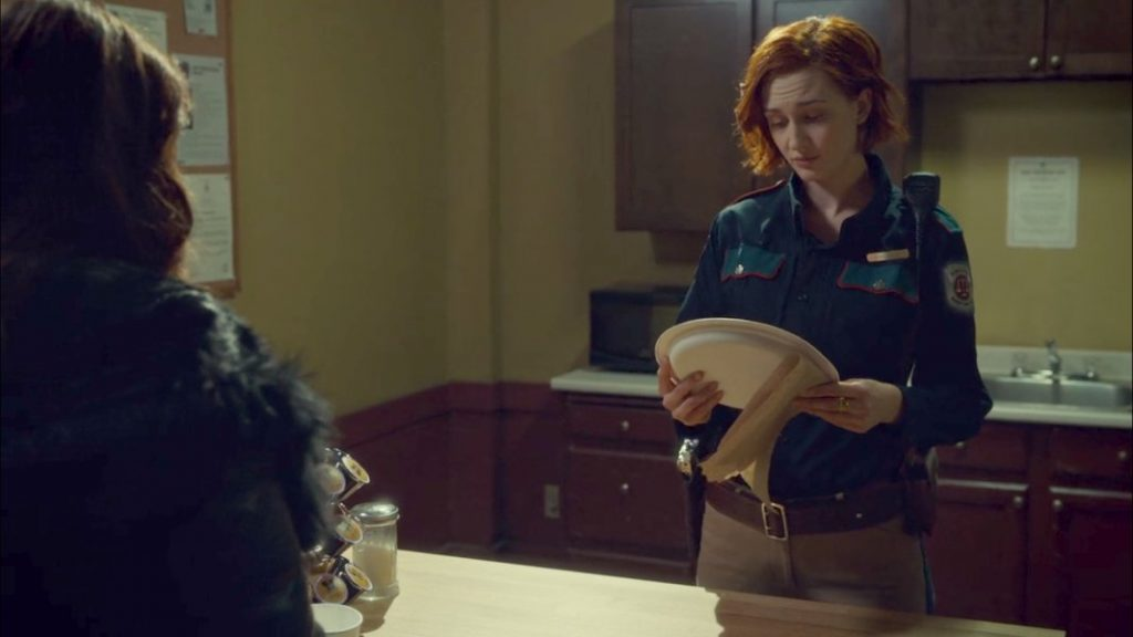 Nicole Haught with her pizza.